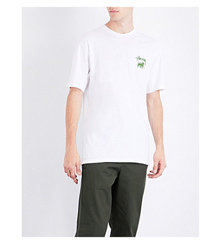 STUSSY Stock Lion cotton-jersey T-shirt (White