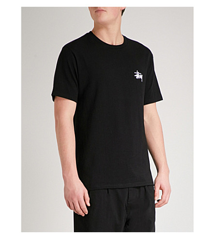 STUSSY Basic cotton-jersey T-shirt (Black