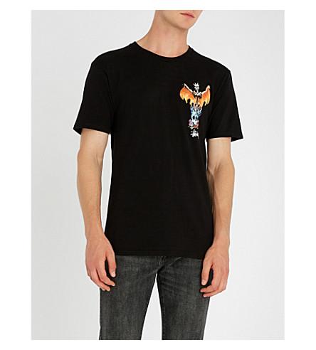 STUSSY 凤凰平纹针织棉 T 恤 (黑色