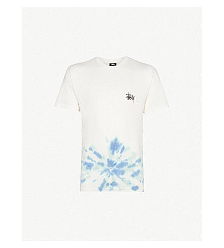 STUSSY Tie-dyed cotton-jersey T-shirt (Natural+blue