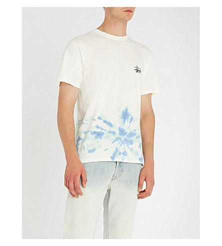 STUSSY 领带染色平纹针织棉 T 恤 (自然 + 蓝色)