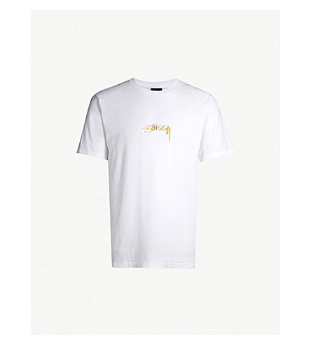 STUSSY Logo-embroidered cotton-jersey T-shirt (White