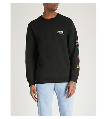 STUSSY Rose-print cotton-fleece sweatshirt (Black