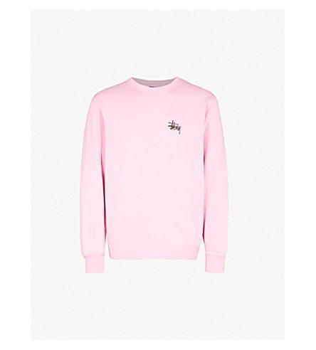 STUSSY 徽标打印棉混纺卫衣 (粉红色