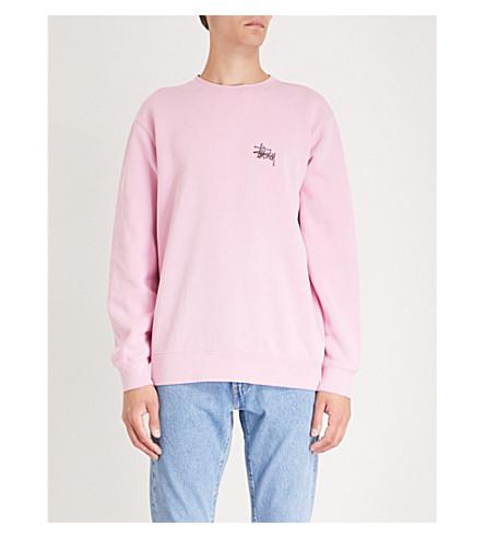 STUSSY Logo-print cotton-blend sweatshirt (Pink