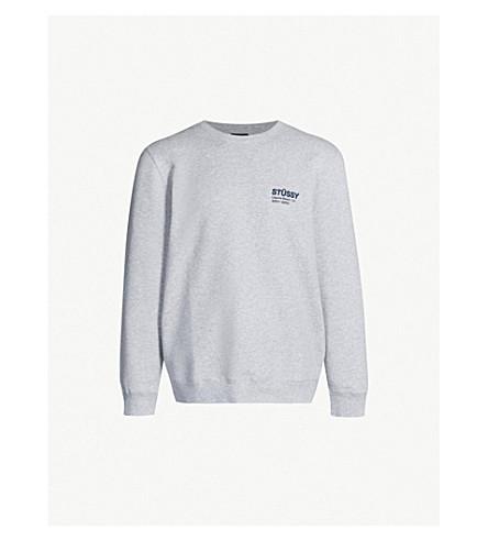 STUSSY Logo-print jersey sweatshirt (Ash heather