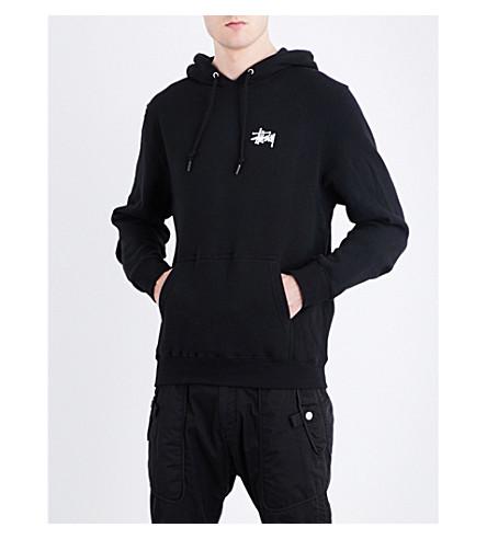 STUSSY Logo-print cotton-blend hoody (Black