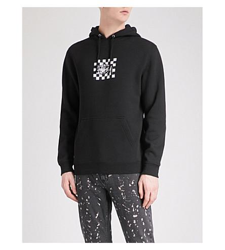 STUSSY Checkers cotton-blend hoody (Black