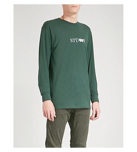 STUSSY Prism dice cotton-jersey top (Darkforest