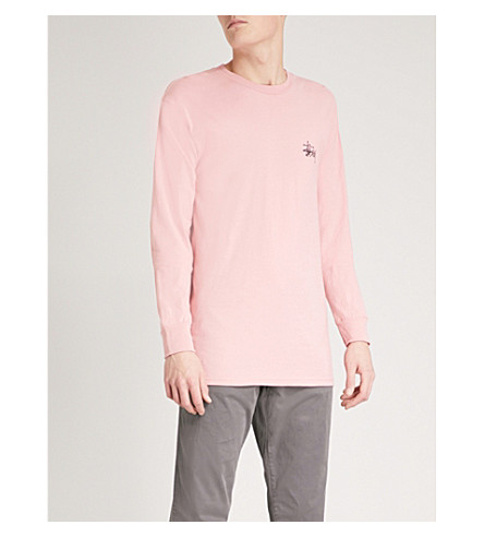 STUSSY Logo-print cotton-jersey top (Dusty+rose