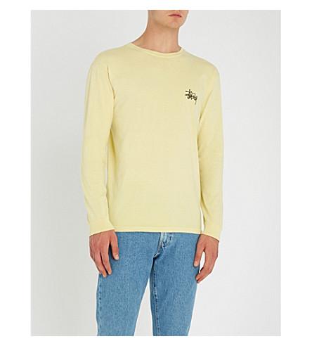 STUSSY 徽标打印平纹针织棉顶部 (黄色