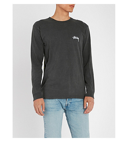 STUSSY Text Print cotton-jersey long-sleeved top
