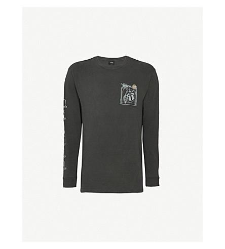 STUSSY 徽标打印平纹针织棉顶部 (黑色