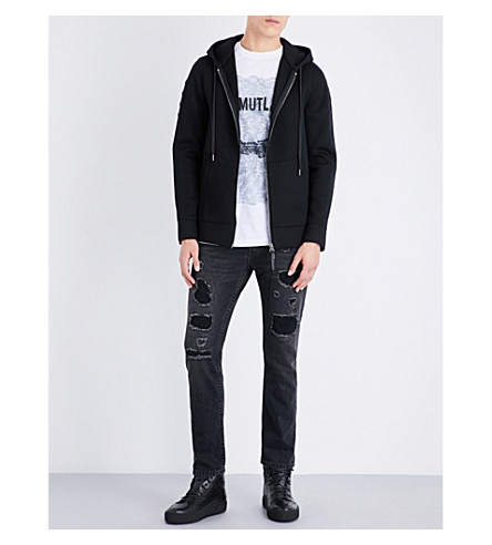 HELMUT LANG Tape zip-up neoprene hoody (Black