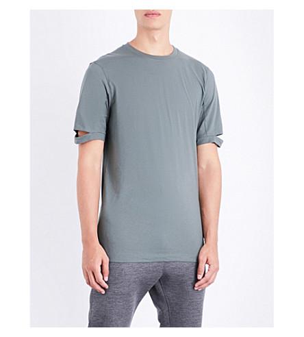 HELMUT LANG Notched sleeve cotton-jersey T-shirt (Sage