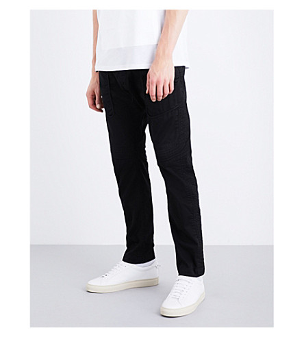 HELMUT LANG Uniform stretch-cotton twill trousers (Black