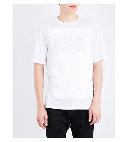HELMUT LANG Glitched logo cotton-jersey T-shirt (Optic+white