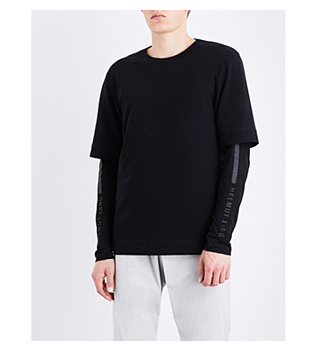 HELMUT LANG Layered stretch-jersey top (Black