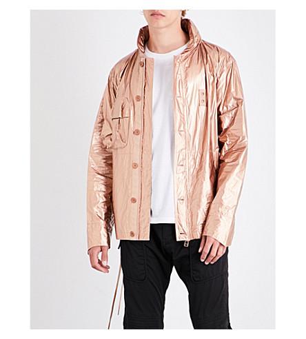 HELMUT LANG Lace-up sides metallic jacket (Copper