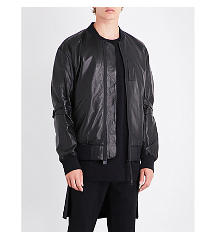 HELMUT LANG Bantam leather bomber jacket (Black