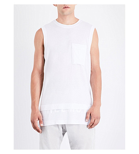 HELMUT LANG Half-logo muscle cotton-jersey top (Optic+white
