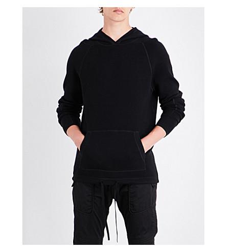 HELMUT LANG Waffle-knit cotton-blend hoody (Black