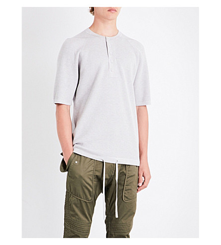 HELMUT LANG Oversized knitted cotton-blend henley top (Silver+cloud