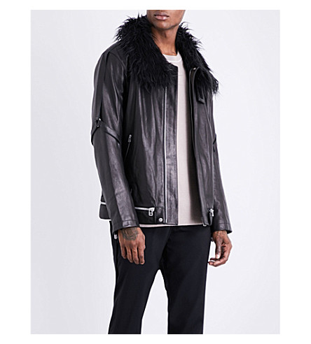 HELMUT LANG Faux-fur collared leather jacket (Black
