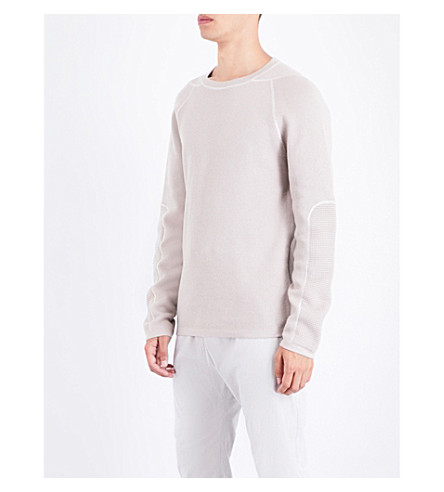 HELMUT LANG Contrast-stitching cotton and wool-blend jumper (Agate