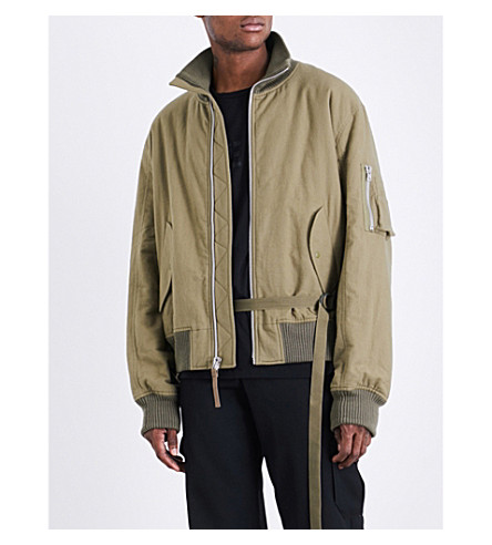 HELMUT LANG Re-Edition high-collar brushed-cotton bomber jacket (Army+green