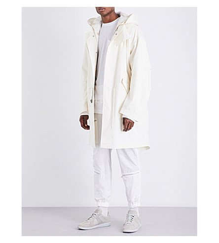 HELMUT LANG Re-Edition shearling-trim cotton parka coat (Off+white