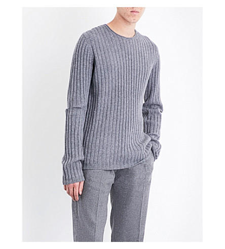 HELMUT LANG Re-Edition cutout wool jumper (Grey
