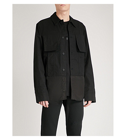 HELMUT LANG Oversized cotton-canvas shirt (Black
