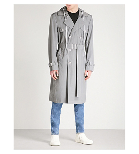 HELMUT LANG Hooded reflective shell trench coat (Meteorite
