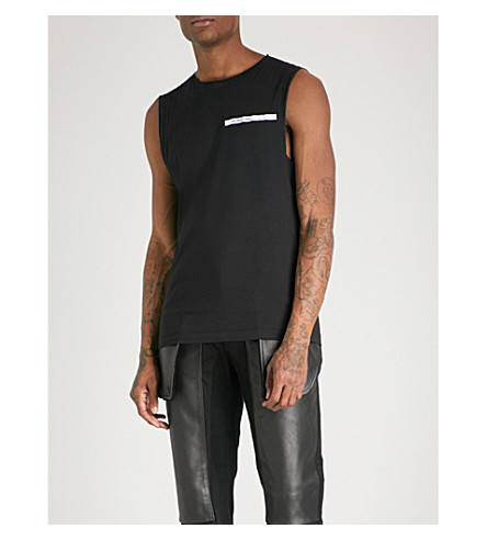 HELMUT LANG Raw edge sleeveless cotton-jersey top (Black+white