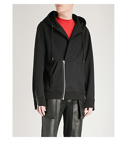HELMUT LANG Asymmetric cotton-blend hoody (Black