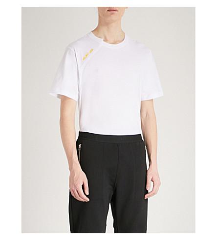 HELMUT LANG Cut Neck cotton-jersey T-shirt (White+yellow
