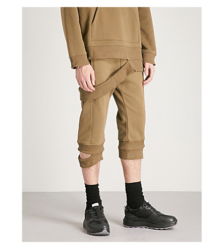 HELMUT LANG Hanging Rib relaxed-fit cropped cotton-blend jogging bottoms (Army