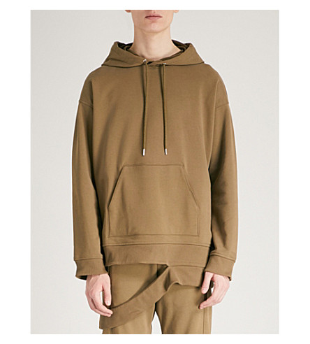 HELMUT LANG Deconstructed cotton-jersey hoody (Army