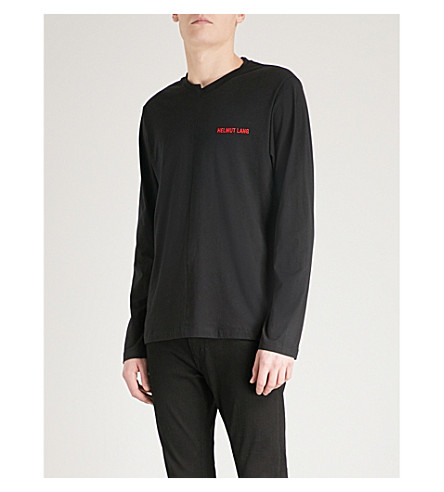 HELMUT LANG Logo-embroidered cotton-jersey top (Black+red