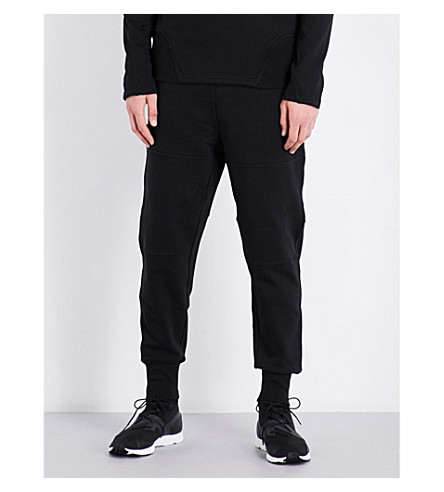 Y3 Striped-detail cotton-jersey jogging bottoms (Black