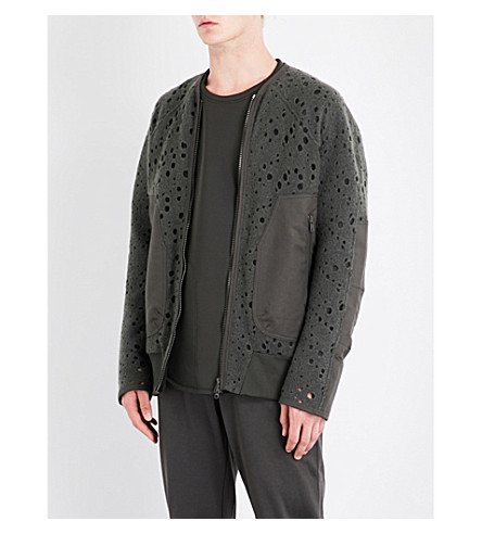 Y3 Open-work wool-blend jacket (Black+olive