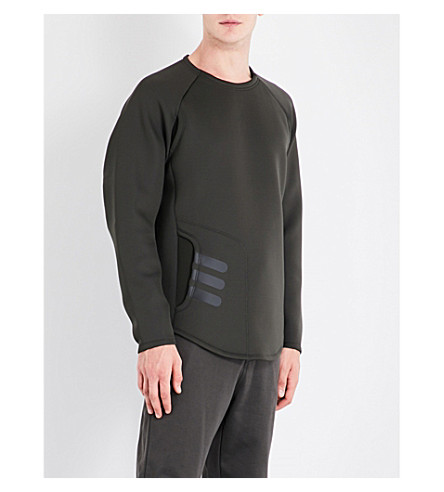 Y3 Mesh-panel neoprene sweatshirt (Black+olive