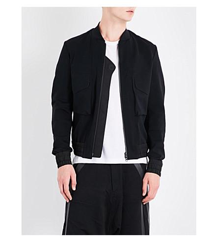 Y3 Logo-print jersey bomber jacket (Black