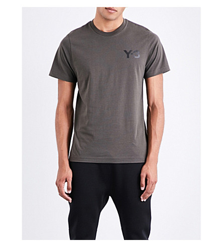 Y3 Logo-print cotton-jersey T-shirt (Black+olive