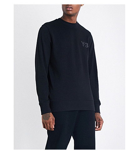 Y3 Logo-print cotton-jersey sweatshirt (Black