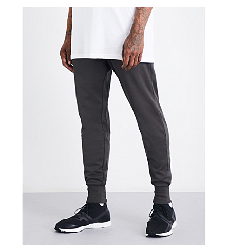 Y3 Relaxed-fit skinny cotton-jersey jogging bottoms (Black+olive