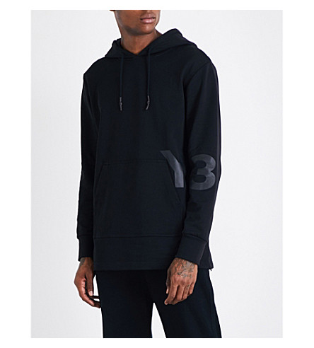 Y3 Logo-print oversized cotton-jersey hoody (Black
