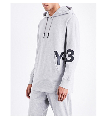 Y3 Logo-print cotton-jersey hoody (Medium+grey+heather