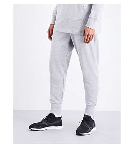 Y3 Logo-print cotton-jersey jogging bottoms (Medium+grey+heather